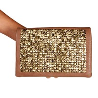 Taupe Studded Clutch