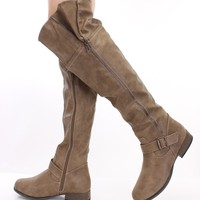 Taupe Faux Leather Zippered Knee High Boots