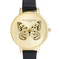 Olivia Burton Black Applied Butterfly Watch