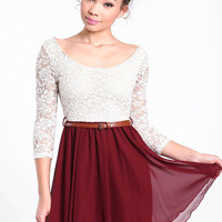 LACE CHIFFON BELTED DRESS