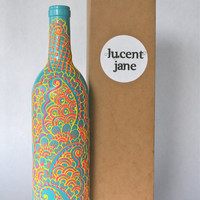 Henna Style Decorative Wine bottle Vase, Sunshine Yellow, Bright Pink, and Sky Blue