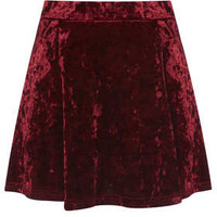 PETITE RED CRUSH VELVET SKIRT