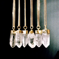 Raw Crystal Necklace, Quartz Crystal Point Pendant Necklace