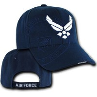 U.S. Air Force Wing Shadow Military Cap Hat, Navy Blue