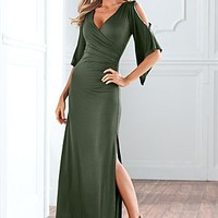 Slit Sleeve Maxi Dress