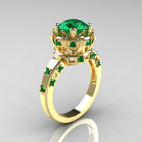 Modern Antique 18K Yellow Gold 1.5 Carat Emerald Classic Armenian Solitaire Wedding Ring AR107-18KYGEM