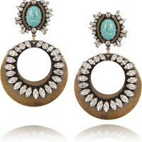 DANNIJO Sade oxidized brass Swarovski crystal earrings – 70% at THE OUTNET.COM