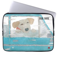 Labrador Retriever In Blue Car Laptop Case