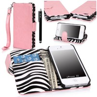 E LV Deluxe PU Leather Wallet Stand Case Cover With Zebra print inside for Apple iPhone 5/5S with 1 Stylus and 1 Clear Screen Protector (Apple iPhone 5/5S, Baby Pink)