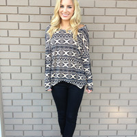 Black & Sand Southwestern Long Sleeve Top