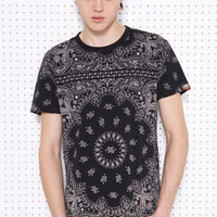 Worland Black Washed Large Bandana Tee at Urban Outfitters