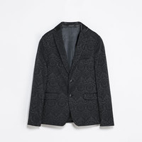 JACQUARD BLAZER WITH CONTRASTING COLLAR