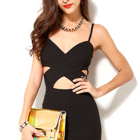 Cross Bust Bodycon Dress in Black