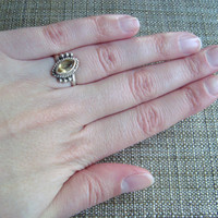 delicate sterling silver citirine ring, size 7