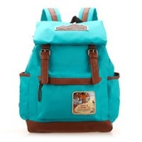 Leisure Retro Simple Patch Candy Color Schoolbag Backpack