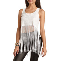 LACE FRINGE CROP TOP