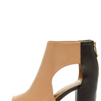 Report Signature Bryanna Tan and Black Cutout Peep Toe Booties