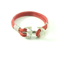 Genuiene leather bracelet with ying yang design depicted atop alloy anchor charm. Color options: red , green, brown, white
