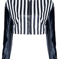 ROMWE | ROMWE Long-sleeved Black & White Striped Vinyl Jacket, The Latest Street Fashion