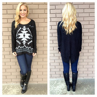 Black & White Aztec Slit Back Knit Sweater