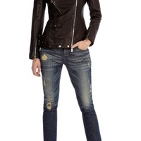 Long line leather jacket