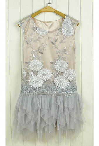Fairy Dress. Whimsical Sequins Embellished Light Grey Layer Dress | GlamUp - Clothing on ArtFire