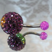 Belly ring with amethyst purple crystal ball and gold flower 14ga