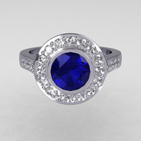 Classic Brilliant Style 950 Platinum 1.0 Carat Round Sapphire Accent Diamond Bead-Set Border Engagement Ring R42-PLATDBS