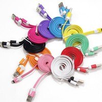 Critsupply[Tm] Family Bundle Package (10) Qty Rainbow Usb Cables 3 Feet 1 Meter Data Sync Charger Flat Noodle Cable Usb Cord Wire To 8 Pin Connector For Iphone 5, Ipod Touch Nano 7Th