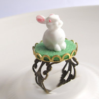 Vintage inspired Little White Bunny Rabbit on Green Grass Antiqued Bronze Filigree Ring