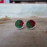 Red and Green Christmas Holiday Earrings 10mm