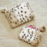 Fur Snow Leopard Beauty Pouches, Set of 2