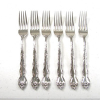 "6 Wallace ABBEY ROSE Silverplate 7 1/2""  Dinner Forks"