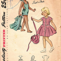 1940s Girls Jumper Dress Playsuit Simplicity Sewing Pattern Bonnet Bib Coveralls Button Front Beach Cover Up Size 5