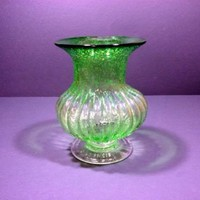 Vertical Ribbed Green BUBBLE Glass Vase