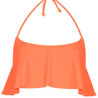 FLAME ORANGE SHELF BIKINI TOP