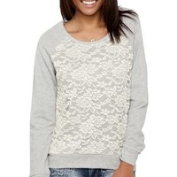 Lace Front French Terry Top