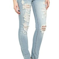 Machine Light Wash Destructed Skinny Jean