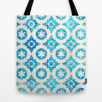 Aqua Blue & Off White Geometric Pattern Tote Bag by micklyn