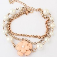 Rose Pearl And Rhinestone Double Chain Bracelet