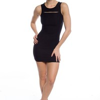 Preening Precision Sleeveless Cut Out Dress - Black