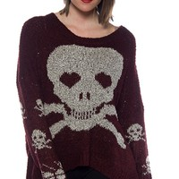 Dangerous Dearie Skull and Cross Bones Sweater - Burgundy