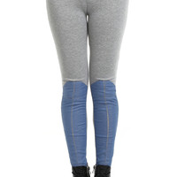 ROMWE | ROMWE Faux Denim Light-gray Leggings, The Latest Street Fashion
