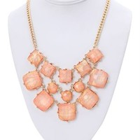 short necklace with large opalescent square stones