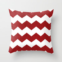 Chevron - red Throw Pillow by her art