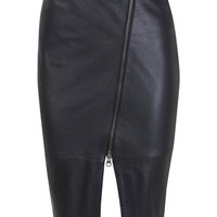Black Asymmetric Leather Skirt - View All - New In