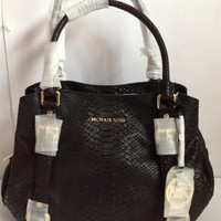 Michael Kors Lg black Python leather Bedford E/W Satchel shoulder bag $478
