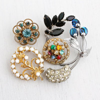 Vintage Brooch Lot - 6 Rero Rhinestone Silver & Gold Tone Flower Leaf Costume Jewelry Pins / Colorful Floral