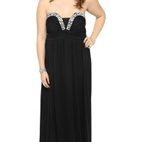 Plus Size Strapless Long Dress with Stone Neckline and Slim Maxi Skirt