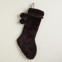 CHOCOLATE FAUX FUR STOCKING